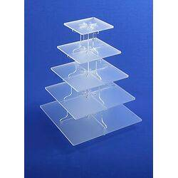 5 tier square frosted cupcake stand