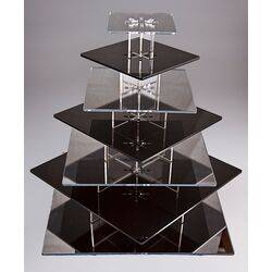 9 tier square black and mirrored  cupcake stand
