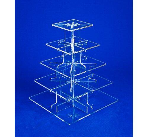 5 tier clear square cupcake stand