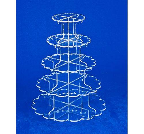5 tier clear petal cupcake stand